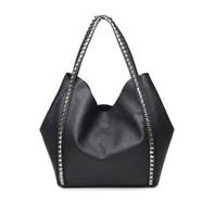 Wholesale Bulk Ladies - 2017 new shoulder hand bag simple shopping bag rivet bulk composite bag lady black handsome high-capacity women's handbag