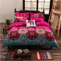 camas de luxo vintage venda por atacado-Luxo Bohemian Bedding Set 4 pcs Rei / Rainha / Duplo / Único Tamanho Capa de Edredão Do Vintage Colcha Folha Fronhas Cama Casa Têxtil