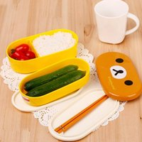 Wholesale Cartoon Plastic Lunch Box - Cute Cartoon Animal Bento Lunch Box Set Double Layer Food Container For Kids Children Microwave Rilakkuma & Yellow Bird Meal Box
