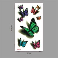 Wholesale Tattoo Flash Butterfly - 10 pieces in 500 types waterproof temporary fake flash tattoo tatoo henna stickers Taty tatto 3D butterfly WM249-10PC q0515