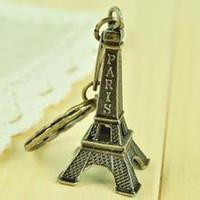 Wholesale Eiffel Souvenir - Paris Eiffel Tower keychain French souvenir paris couple lovers key ring advertising gift keychain bronze Decoration Key Holder