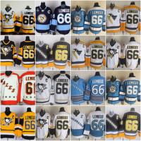 Wholesale Lemieux Ccm Jersey - Men's Pittsburgh Penguins #66 Mario Lemieux Gold Yellow Black White Throwback CCM Jersey Pittsburgh Ice Hockey Jerseys Cheap