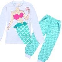 Wholesale Kids Fishing Shirts Wholesale - Mermaid girl Suits Pajamas children Cotton cartoon long Sleeve T-shirt+ fish scale Pants 2pcs sets baby kids clothes B001