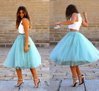 Wholesale Skirt Outfit For Winter - Sky Blue Fluffy Tulle Skirts For Women Satin High Waist Knee Length Tutu Ball Gown Fashion Summer Maxi Custom Skirts Outfits