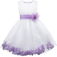 Barato Pétalas Lilás-2017 New Arrival White-Lilac Rose Petals Tulle Flower Girl Vestidos Casamento Party Tutu Ball Gowns para crianças Pretty Infant Toddler Dress