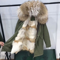 Wholesale Lined Army Green Jacket Women - Real pictures show Mr Mrs itlay brown white coyote fur lined long canvas army green jackets Mr Mrs furs winter warm parka