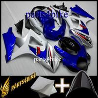 plásticos da motocicleta do mercado de acessórios venda por atacado-ABS Carenagem para Suzuki GSXR1000 07 08 GSX-R1000 2007-2008 07 08 azul branco Motorcycle Body Aftermarket Plastic
