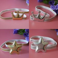 Wholesale Baby Silver Hair - Golden and silver crown star baby elastic hairband toddler birthday hair jewelry infant birthday gift