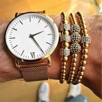 Wholesale Macrame Bracelet Pave Beads - Anil Arjandas Men Bracelet Micro Pave Black Cubic Zironia Stoppers Beads Briading Macrame Bracelets For Male Stainless Steel Jewelry