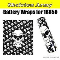 ingrosso adesivi nazionali di bandiera-Nazionale USA Bandiera Vaping Proverbi Skeleton Skull Army 18650 Batteria PVC Skin Sticker Vaper Wrapper Cover Sleeve Calore Termoretraibile per Vape