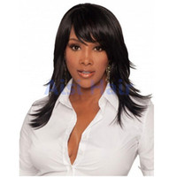 """Wholesale long realistic wigs - 24"""" Synthetic Long Wavy Black Hair Wig for Black Women Ladies Female Cheap Realistic Fake Hair False Afro African American Wig"""