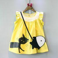 Wholesale Little Girls Summer Bags - new arrivals Girl dress kids Korean style round collar sleeveless cat print kids girl send little fish Inclined shoulder bag