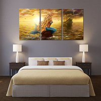 3 Panles Hermosa Princesa Sea Mermaid Paintings Mermaid Pictures Prints On Canvas Wall Art Decoración para el hogar con marco de madera