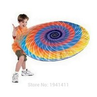 Wholesale Red Frisbees - Wholesale-1pcs Hover Disc Rainbow Aluminum Inflatable Frisbee Flying Disk Baby Children Great Outdoor Toy