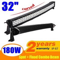 "Wholesale roof led lights for trucks - 180W 32"" Curved Spot Flood Combo Beam LED Light Bar Working Light Roof Front Headlight For Truck Jeep Off-road 4WD Car Boat Driving Light"