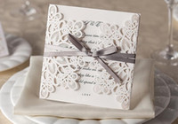 Wholesale Ivory Ribbon Wedding Invitations - high-grade Wedding Invitation Cards Laser Cut Customizable Hollow Crystal Lace Bow Ribbon paper material free shipping WT01