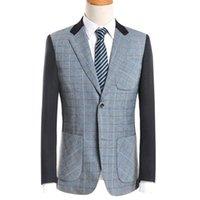 Wholesale Popular Blazers - Wholesale- Popular Blazers Men Slim Gentleman Autumn Winter Patchwork Plaid Turn-Down Collar Warm Coat Casual Clothes Fashion Tops
