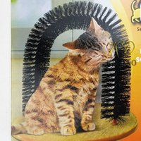 Wholesale Brushed Fleece - pet Arch Pet Cat Self-Groomer and Massager With Round Fleece Base Cat dog Toy Brush Pets Toys Purrfect Scratching Devices h107