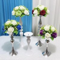Wholesale Table Flower Vases - Upscale Wedding Table Decoration Flower Stands Candlestick T station Road Lead Stainless Steel Columns Main Table Flower Vase Pendulum Props