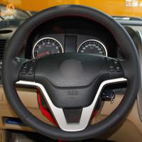 v tekerlekler toptan satış-1 Mewant El Dikiş Siyah Suni Deri Araba Direksiyon Kapağı Honda CR-V CRV 2007 2008 2009 2010 2011