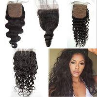 Wholesale Black Wet Top - Water Wave Wet and Wavy Silk Base Closure 4x4 natural black malaysian human hair silk closure body loose deep wave top closure G-EASY