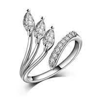 rhodium 925 ringe großhandel-Cute Leave Design Solide 925 Sterling Silber Schmuck Einstellbare Hochzeitsband Frauen Ringe für Party YDHR249