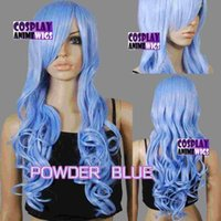 80cm Powder Blue Hitze Styleable Curly Lange Cosplay Perücken 967_MPP