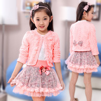 Wholesale Lace Cardigans For Kids - Wholesale- 2016 fashion children clothing for kids flower outfits sets girl 3 piece Princess lace ruffle cardigan tops tutu skirts suits