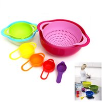 Wholesale Bowl Baking - 8PCS SET Multifunctional Rainbow Color Measuring Spoon Mixing Salad Bowl Baking Measure Cup Set Cooking Tool Sets Kitchen Gadget