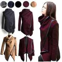 Wholesale European Jacket Women - Fall Winter Clothes for Women New European and American Wool & Blends Coats Ladies Trim Personality Asymmetric Rules Short Jacket Coats