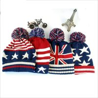 Wholesale Wholesale American Flag Hats - Top Quality Fashion U.S.A American Flag Beanie Hat.Wool Thicken Warm Knitted Caps,Casual Hip-hop Cap.Sports Hairball Knitted Ha YYA562