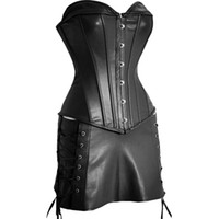 Wholesale Leather Basque Tops - Sexy Black Faux Leather Corset & Skirt Set - Basque Top Outfit STEAMPUNK