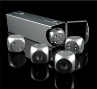 Wholesale Aluminium Alloy Poker Silver Color Solid Dominoes Dice Game Portable Dice Dice Poker Party G SS