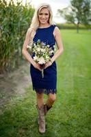 Wholesale Knee Length Western Wedding Dresses - Royal Blue Lace Short Country Bridesmaid Dresses 2018 Cheap Jewel Zipper Back Knee Length For Western Causal Wedding Custom Made