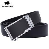 Wholesale Bison Buckle - Wholesale- BISON DENIM designer Automatic buckle genuine leather belt for men black dress high quality Men Belt luxury N71102