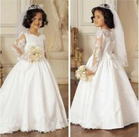 original graduation - Original A Line Appliques Full Sleeves Holy White First Communion Dress for Girls With Cute Bow Vestido Primera Comunion