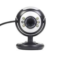 cmos pc toptan satış-USB 6 LED 12.0 Megapiksel USB PC Webcam Web Kamera + Gece Görüş + Mic / Mikrofon MSN, ICQ, AIM, Skype Için