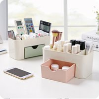 Wholesale Multipurpose Storage Box - New European transparent plastic makeup organizer storage box multipurpose candy color office sundries cosmetic drawer container