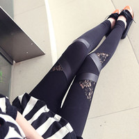 Wholesale Time Trousers Sexy - Wholesale- Women Autumn Spring Sexy Skinny Stretch Lace Stitching Mesh Legging Pants Slim Fit Trousers Legins Gothic Adventure Time New