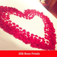 Wholesale Wedding Table Red Flower Decorations - Silk Cloth Simulation Rose Petals Artificial Display Rose Flower Petals Leaves Wedding Decorations Party Festival Table Decor