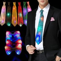 Atacado- Moda LED piscando Light Up Sequin Bowtie Gravata Men Boys Party Bow Tie Wedding Gift 5pcs / lot