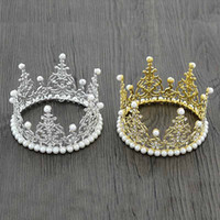 Wholesale Diamond Baby - Children birthday Party Crown Hair Clip Gold silver diamond pearl Crown Headwear Baby Girl Hair Accessory Tiaras kids Hair Accessories A569