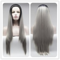 Wholesale Wig Silver Long - Factory supply long black to silver grey silk straight synthetic lace front wigs for women heat resistant synthetic wigs free shipping