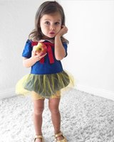 Wholesale Little Girls Tutus Wholesale - 0-2T Baby Toddlers Snow White Tutu Rompers Summer Little Girls Princess Short Rompers Jumpsuits For Infants Kids Bow Tutu Rompers Bodysuits
