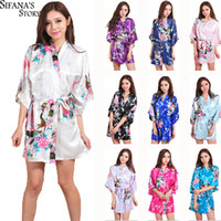 Wholesale Dress Clear - Hot Sale Silk Satin Wedding Bride Bridesmaid Robe Short Kimono Night Robe Floral Bathrobe Peignoir Femme Fashion Dressing Gown For Women