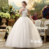 Wholesale Tulle Lace Up Wedding Halter - MD26 Fashionable sexy halter crystals 2017 wedding dress plus size custom made bridal dresses ball gown bride gowns vestido de noiva