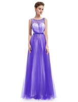 pretty summer prom dresses UK - Sexy Party Dresses Ever Pretty HE08747 Elegant Maxi Blue Round Neck Sleeveless Long Prom Party Dresses