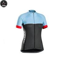 siyah mavi bisiklet formaları toptan satış-Kadınlar Özelleştirilmiş YENI Mavi Siyah Beyaz çizgiler Bisiklet mtb yol YARI Takım Pro Cycling Jersey / Gömlek Tops Giyim Solunum Hava JIASHUO