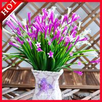 Wholesale Red Aquatic Plants - Wholesale- 7 Branch artificial lily flower fake flowers Aquatic plants home decoration bedroom accessory wedding flower 5colors