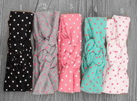 Wholesale Top Knots Hair Wholesale - Wholesale- Baby Headband Dot Bow Headband Top Knot Headband Polka Dot Cross Knot Baby Turban Tie Knot Headwrap Hair Accessories